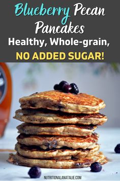 Healthy Whole Wheat Blueberry Pancakes have no added sugar. Made with whole wheat flour, oats and mashed banana for a filling and healthy breakfast. Easy No-Sugar Added Recipe. Healthy Breakfast Recipes. #breakfast #healthybreakfast #pancakes #homemade #pancakerecipe #healthypancakes Whole Grain Pancakes, Pecan Pancakes, Healthy Blueberry Pancakes, Healthy Breakfast Recipes, Vegetarian Recipes, Nutrition For Runners, Nutrition Tips, No Sugar Added Recipe, Runners Food