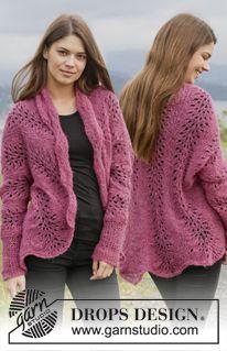 """Strikket DROPS jakke i """"Brushed Alpaca Silk"""" med bølgemønster. Str XS - XXL. ~ DROPS Design"""