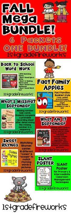 Fall Mega Bundle!  6 Packets in 1 BUNDLE! Reading, Writing, Word Work, Sight Words, Math games, Rhymes, Classroom management   https://www.teacherspayteachers.com/Product/September-MegaBUNDLE-1840986