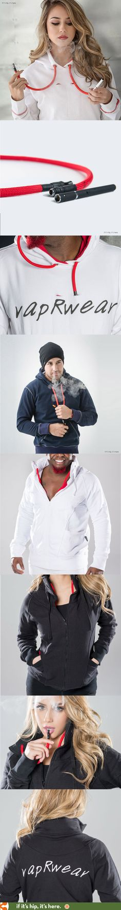 VapRwear, a line of hoodies and jackets that conceals an e-cig vape system.