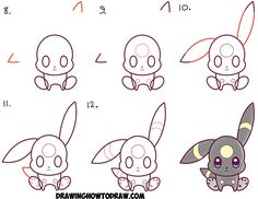 Learn How to Draw Cute Kawaii Chibi Umbreon from Pokemon Simple Steps Drawing Lesson for Beginners