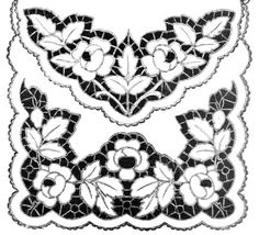 Richelieu | Cutwork : Patterns Wedding Embroidery, Cutwork Embroidery, Baby Embroidery, Vintage Embroidery, Border Embroidery Designs, Embroidery Patterns, Cutwork Saree, Native American Design, Point Lace