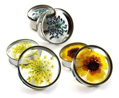 Resin filled pressed flower plugs! OMG Totally need to recreate these for myself!