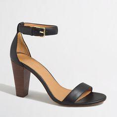 Factory Stacked-Heel Sandals in Black or Metallic Gold Crackled - J.Crew