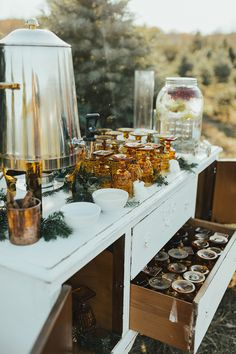 The pair combined a crisp fall wedding with their favorite holiday through their one-of-a-kind venue. Christmas Tree Farm, Christmas Wedding, Wedding Drink Table, Drink Station Wedding, Farm Wedding, Wedding Bells, Dream Wedding, Brunch Wedding, Wedding Ideas