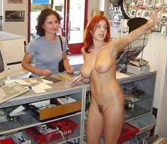 nude public stores shopping Women in