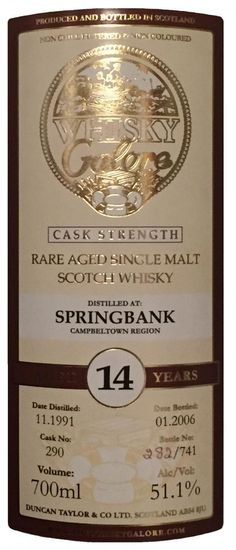 a0cb19044f1 Review  447 - Springbank 14 Year 1991 Sherry Cask (Duncan Taylor)  scotch   whisky  whiskey  malt  singlemalt  Scotland  cigars