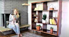 Want to break into the world of DIY furniture? Build this quick and easy mid-century modern bookshelf and level up your DIY skills! Modern Bookshelf, Bookshelves, Tree Bookshelf, Cube Storage Shelves, Storage Ideas, Diy Furniture Building, Unique Furniture, Furniture Ideas, Painted Furniture