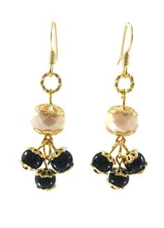 Cream Gold and Black Beaded Earrings by AndrassidyDesigns on Etsy