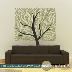 Tree Wall Decal Modern Trendy Square Design Living Room Bedroom Decor