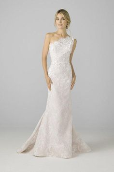 Classic & Sexy Gowns from Azul by Liancarlo 2018 2017 Bridal Collection One Shoulder Wedding Dress Fit Flare Chantilly Lace Strapless Lace Wedding Dress, Stunning Wedding Dresses, Classic Wedding Dress, Fall Wedding Dresses, Bridal Lace, Bridal Gowns, Floral Wedding, One Shoulder Wedding Dress, Classic Dresses