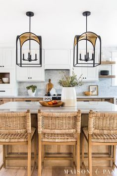 Looking for white and wood kitchen inspiration? Tour this beautiful rustic transitional kitchen with two toned kitchen cabinets! Two Tone Kitchen Cabinets, Wood Cabinets, Kitchen Appliances, Home Design, Design Ideas, Interior Design, White Oak Kitchen, Kitchen Triangle, Layout