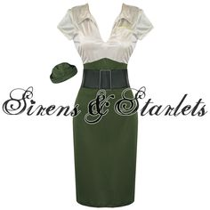 WOMENS LADIES NEW ARMY FORCES MILITARY PINUP FANCY PENCIL DRESS OUTFIT COSTUME