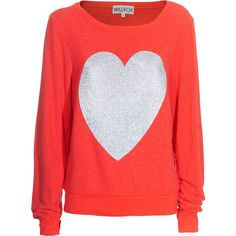 Wildfox Silver Sparkle Heart Free Love Sweater With Glitter Heart ($170) ❤ liked on Polyvore