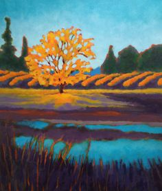 Vineyard by the Pond by Karen Lynn Ingalls, Acrylic, 24x20
