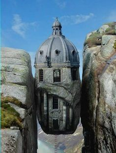 Kjerag Tower by Norrit  1st place entry in Bizarrchitecture 4 from Worth1000 Advanced Photo Effects Contest.