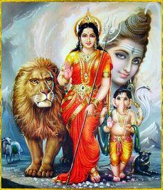 Shiv, Parvati as Goddess Durga, Ganesha Durga Maa, Durga Goddess, Saraswati Mata, Jai Hanuman, Shiva Shankar, Lord Shiva Family, Shiva Art, Mahakal Shiva, Spiritual Images