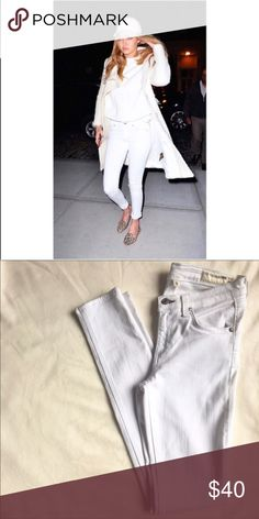 • Rag&Bone Skinny Jeans • My go-to Rag&Bone white denim jeans in its signature skinny with a clean finish that adds a pulled-together polish to your off duty look. As seen on Gigi Hadid!  • Retail $190 • 43% viscose, 33% cotton, 17% tencel • Made in USA • Fits true to size  • Zip fly with button closure, 5 pockets • Low rise   • Ask all questions prior to purchase • Bundle & save  • Price is firm unless bundled rag & bone Jeans Skinny