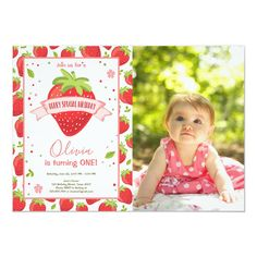Strawberry Berry Sweet Pink Red First Birthday Invitation - Farmer Gift Idea First Birthday Theme Girl, First Birthday Photos, Summer Birthday, First Birthday Parties, First Birthdays, Birthday Tutu, Birthday Ideas, Birthday Gifts, 1st Birthday Invitations