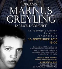 Poster Design and concept for Marnus Greyling for the CD Launch and Farewell…