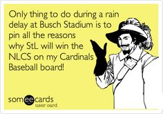 Only thing to do during a rain delay at Busch Stadium is to pin all the reasons why StL will win the NLCS on my Cardinals Baseball board! | Confession Ecard | someecards.com
