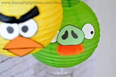 Angry birds party from kara's party ideas - notable for the paper lanterns