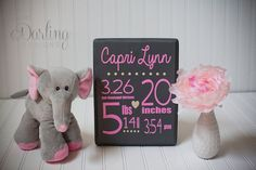 Customizable Baby Stats Board. Baby Stat wall art. Pink and Grey. on Etsy, $35.00
