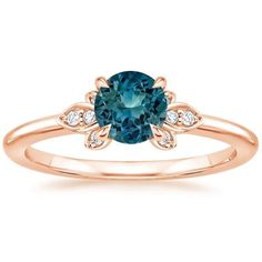 Sapphire Fiorella Diamond Ring in 14K Rose Gold with 5.5mm Round Teal Sapphire #diamondring #gold14kbracelet