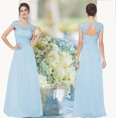 New pale blue lace chiffon beaded maxi long bridesmaid evening prom dress 6-18