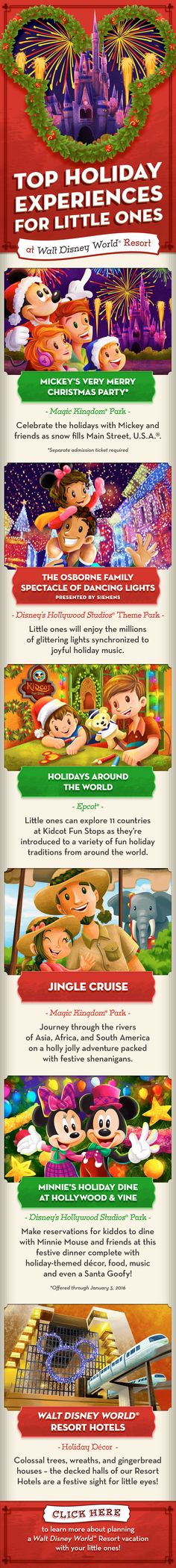 Learn more about fun and unique Holiday experiences in 2015 for you and your little ones on your Walt Disney World vacation! From Mickey's Very Merry Christmas Party to holiday decor at Walt Disney World Resort hotels, you're sure to have a merry holiday visit! (Admission to Mickey's Very Merry Christmas Party requires a separately priced ticket. Ticket valid during specific event dates, hours and subject to availability.)