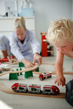 playing Brio train set #brio #trainset