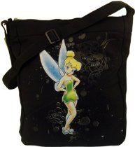 "Disney Fairies Black Shoulder Bag Tote Tinkerbell 15/"" x 16/"" New ST169"