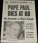 POPE PAUL VI DIES 1978 DAILY NEWS COMPLETE NEWSPAPER EXCELLENT - 1978, complete, Daily, Dies, excellent, NEWS, Newspaper, PAUL, Pope