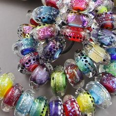Magma Beads ~Fireworks disks~ Handmade Lampwork Beads.
