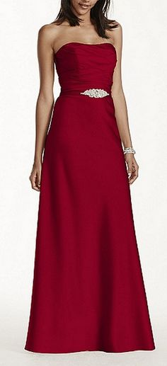 Strapless long satin dress with crystal belt style F17034
