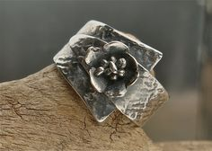 Fine Silver Wild Poppy Ring - PMC - Size 8