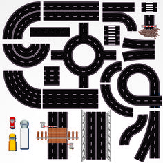 Buy Road Construction Elements by PILart on GraphicRiver. Collection of Isolated Connectable Highway Elements, Constructions and Various Vehicles. Diy For Kids, Crafts For Kids, Festa Hot Wheels, Road Vector, Diy And Crafts, Paper Crafts, Road Construction, Free Vector Art, Vector Map