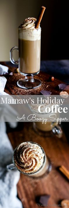 A boozy coffee with Irish cream and hazelnut liquor. Mamaw's Holiday Coffee is a cozy sipper for the coldest months of the year. Dairy-free option.