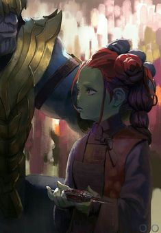 Infinity War - Thanos and young Gamora. Memes Marvel, Marvel Dc Comics, Marvel Avengers, Gamora Marvel, Spiderman Marvel, Captain Marvel, Marvel Universe, Marvel Drawings, Marvel Fan Art