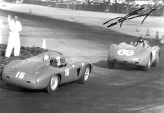Glyer closes in on Dan Gurney (yes!) At the L.A. Examiner G.P. on March 8, 1959. Gurney was leading the race in the Arciero Bros. owned Ferrari 4.9 #0478 but DNF'd.