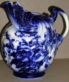 Flow blue pitcher by tammy Flow Blue China, Blue And White China, Love Blue, Dark Blue, Delft, Blue Dishes, White Dishes, White Pitchers, Chinoiserie