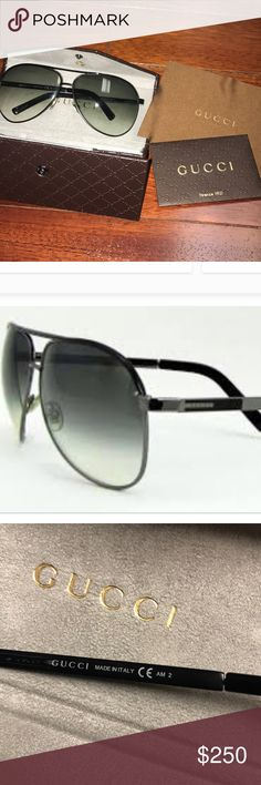 NWT Authentic Unisex Gucci Aviator sunglasses Never worn. No flaws or scratches. Black and smokey gray lens. Black metal frame. Comes with original Gucci hardcase, lens cloth, card. Gucci Accessories Sunglasses