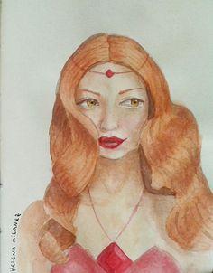 The Fire Princess, human, real life version. A princesa de fogo versão humana da vida real. #fireprincess #adventuretime #horadaaventura #cartoon #reallifecartoon #watercolor #aquarela #drawing #desenho #painting #sketchbook #pintura