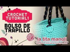 ▶ Crochet - Bolso de trapillo - YouTube Crochet Fabric, Fabric Yarn, Diy Crochet, Crochet Bag Tutorials, Crochet Videos, Crochet Patterns, Crochet Keychain, Crochet Bracelet, Crochet Handbags