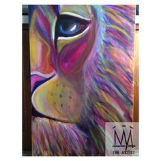 """Lion 2 by Nya The Artist (Free Shipping - 24""""x36"""" - Rainbow)    #shopsmall #artist #color #colorful #popart #lion #animal #art #roar #mane #detail #acrylic #painting #original #artlife"""