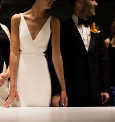 Plain wedding dress - The Bride Wore Custom Calvin Klein, and the Groom Wore a Bucket Hat at This Miami Museum Wedding Plain Wedding Dress, Sexy Wedding Dresses, Wedding Gowns, Wedding Bride, Modest Wedding, Bride Party Dress, Sleek Wedding Dress, Vogue Wedding, Boho Wedding