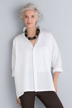 Signature Shirt by Planet . Simple, yet anything but basic, this shirt with a stand collar and Napoleon pocket creates an indispensable foundation in your wardrobe. White fabric has a fine-wale texture for a subtle stripe.