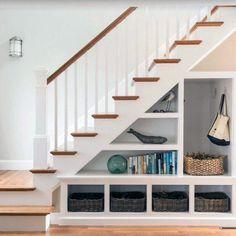 Top 70 Best Under Stairs Ideas - Storage Designs Under Stairs Nook, Closet Under Stairs, Under Stairs Cupboard, Toilet Under Stairs, Kitchen Under Stairs, Home Stairs Design, House Design, Stairway Storage, Storage Under Staircase
