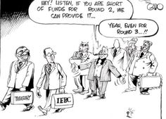 Today's cartoon by @Igaddo on #IEBC and #Treasury asking for funds for elections. #KeElections2013