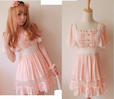f16d263ff8d07 Mouse over image to zoom Kawaii Trendy Princess Cute Sweet Dolly Gothic  Punk Lolita Slim Dress Pink Sz L